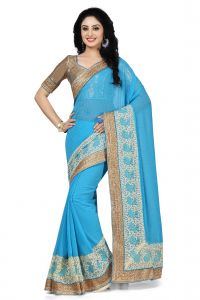 De Marca Sky Blue Colour Faux Chiffon Saree (product Code - K-5149)