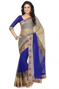 De Marca Beige - Blue Colour Lycra - Faux Georgette Saree (product Code - K-5150)