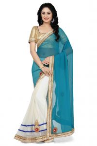 De Marca Rama Green - Off White Colour Faux Georgette - Tissue Saree (product Code - K-5152)