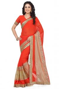 De Marca Red Colour Faux Georgette Saree (product Code - K-5157)