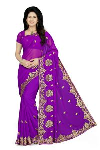 De Marca Purple Colour Faux Georgette Saree (product Code - K-5177)