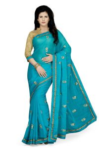 De Marca Sea Green Colour Faux Chiffon Saree (product Code - K-5179)