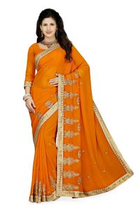 De Marca Mustard Colour Faux Georgette Saree (product Code - K-5180)