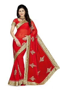 De Marca Red Colour Faux Georgette Saree (product Code - K-5184)