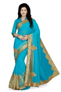 De Marca Sky Blue Colour Faux Chiffon Saree (product Code - K-5186)