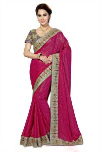 De Marca Pink Colour Faux Georgette Saree (product Code - K-5188)