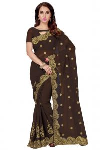 De Marca Brown Faux Georgette Saree (code - K-5224)