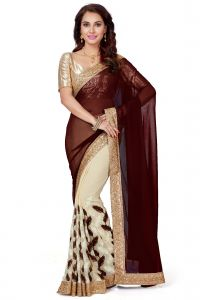 De Marca Cream - Brown Faux Georgette Saree (code - K-5235)