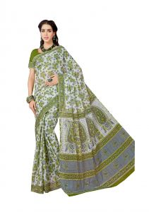 De Marca Green Pure Cotton Saree (code - Kal4958)