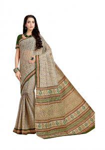 De Marca Beige Pure Cotton Saree (code - Kal4969)