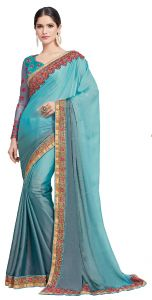 De Marca Blue Fancy Fabric Saree (code - Kas1561)