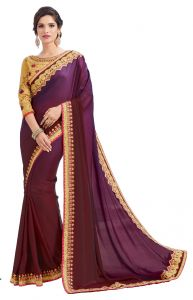 Sarees - De Marca Purple Fancy Fabric Saree (Code - Kas1562)