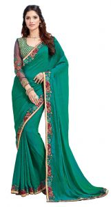 Designer Sarees - De Marca Green Fancy Fabric Saree (Code - Kas1564)
