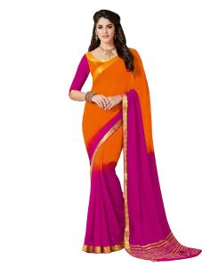 De Marca Orange - Purple Colour Chiffon Saree (product Code - Kum2111)