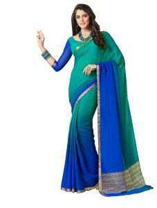 De Marca Green - Blue Colour Chiffon Saree (product Code - Kum2118)