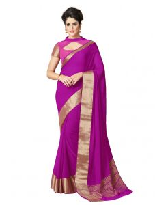 De Marca Purple Colour Chiffon Saree (product Code - Kum2119)
