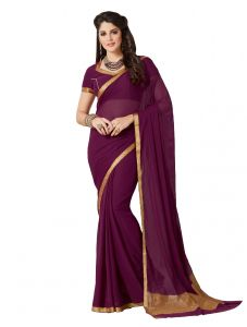 De Marca Dark Purple Colour Chiffon Saree (product Code - Kum2124)