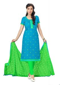 De Marca Parrot Green Cotton Unstitched Dress Material (code - Lil455-4068)