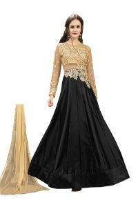De Marca Black Tafeta Silk Semi Stitched Anarkali Dress Material (code - Lil456-32001)