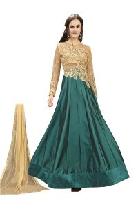 De Marca Rama Green Tafeta Silk Semi Stitched Anarkali Dress Material (code - Lil456-32002)