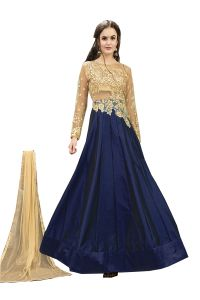De Marca Blue Tafeta Silk Semi Stitched Anarkali Dress Material (code - Lil456-32003)