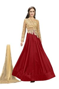 De Marca Red Tafeta Silk Semi Stitched Anarkali Dress Material (code - Lil456-32004)