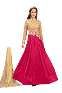 De Marca Pink Tafeta Silk Semi Stitched Anarkali Dress Material (code - Lil456-32006)