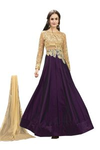 De Marca Wine Tafeta Silk Semi Stitched Anarkali Dress Material (code - Lil456-32008)