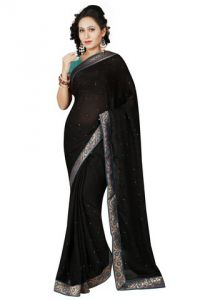 De Marca Satin Black Saree - (code -m1156)