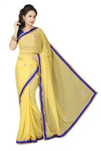 De Marca Georgette Yellow Saree - (code -m1157)