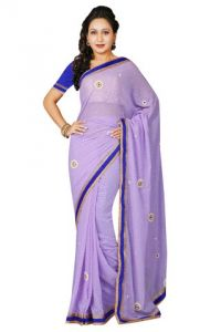 De Marca Georgette Purple Saree - (code -m1158)