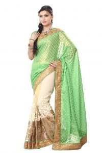 De Marca Georgette Green-cream Saree (code - M1244)