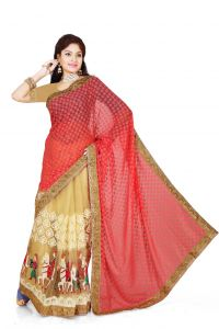 De Marca Red, Beige Brasso, Net Saree (product Code - M1329)