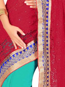 De Marca Red/green Net/brasso/chiffon Saree - M1417