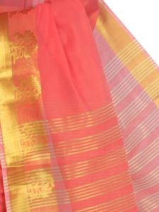 De Marca Cotton Red Saree For Womens - M1451