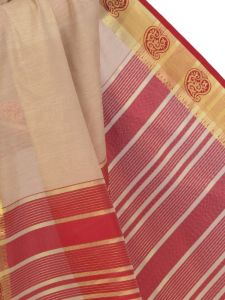De Marca Cotton Chikoo / Red Saree For Womens - M1456