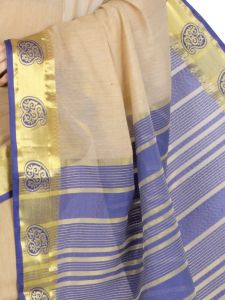 De Marca Cotton Chikoo / Blue Saree For Womens - M1457