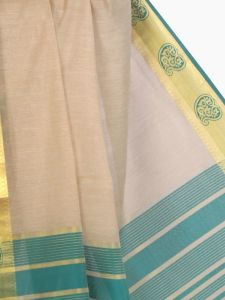 De Marca Cotton Chikoo / Green Saree For Womens - M1459