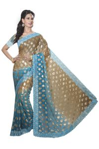 De Marca Firozi-brown Colour Chiffon Padding Saree (product Code - M1554)
