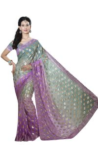 De Marca Violet-green Colour Chiffon Padding Saree (product Code - M1556)