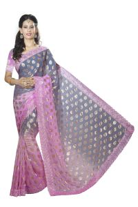 De Marca Pink-grey Colour Chiffon Padding Saree (product Code - M1558)