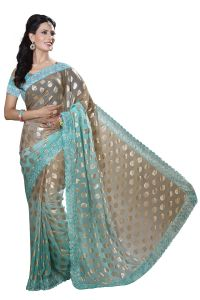 De Marca Pista Green-brown Colour Chiffon Padding Saree (product Code - M1559)