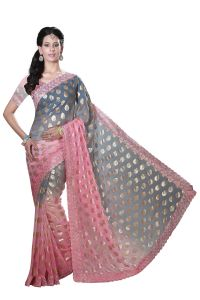 De Marca Old Rose-grey Colour Chiffon Padding Saree (product Code - M1560)
