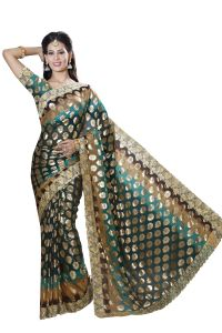 De Marca Dark Green-brown Colour Chiffon Padding Saree (product Code - M1561)