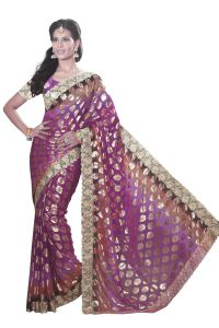 De Marca Purple Colour Chiffon Padding Saree (product Code - M1562)
