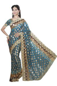 De Marca Firozi Colour Chiffon Padding Saree (product Code - M1563)