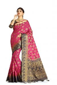 De Marca Pink Colour Tussar Art Silk Saree (code - M1651)