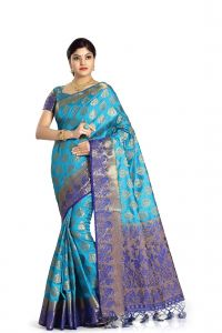 De Marca Blue Colour Tussar Art Silk Saree (code - M1652)