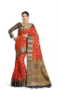 De Marca Orange Colour Tussar Art Silk Saree (code - M1656)