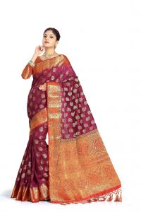 De Marca Purple Colour Tussar Art Silk Saree (code - M1658)